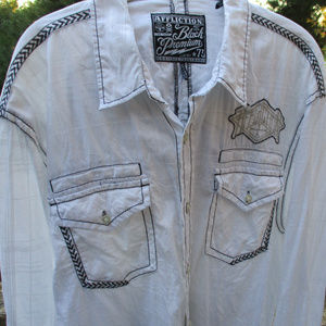 AFFLICTION LONG SLEEVE SHIRT ~ 3XL ~ EMBROIDERY